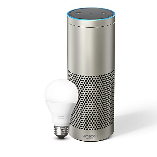 Echo Plus (1st Gen) – With built-in smart home hub (Silver) – Includes Philips Hue White E27 Edison Screw Light Bulb