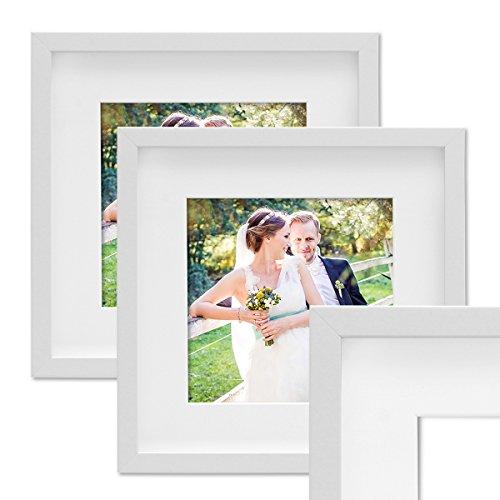 PHOTOLINI 2er Set 3D-Bilderrahmen Objektrahmen 30x30 cm 3D-Rahmen Weiss Modern Tief MDF-Rahmen mit Passepartout u. Glasscheibe/Fotorahmen