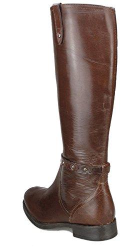 Mesdames genou en cuir souple véritable haute pour femme Noir ou Marron Talon Bloc Zip Bottes Cowboy Marron