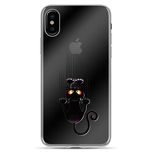 iPhone X Hülle JAMMYLIZARD [Sketch Backcover] Transparentes Slim Case aus Silikon für Apple iPhone X Edition (2017), Tropisches Blumenmuster KRATZENDE KATZE