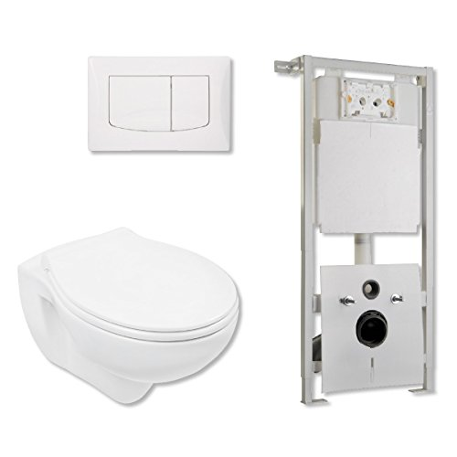 AquaSu Wand-WC Komplett-Set Spülrandlos | Inklusive Sitz | Tiefspüler Toilette | Inklusive Vorwandelement mit 2-Mengen-Spültechnik I Standardgröße I weiß