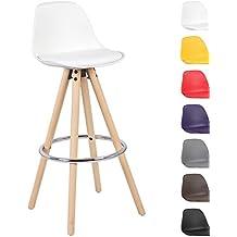 Woltu® # 510 1 x Taburete de bar Juego de 1 Silla de bar de madera y plástico) con respaldo silla cocina diseño silla Selección de Colores 1 pieza Weiss