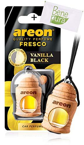 AREON Auto Lufterfrischer Parfüm Fresko 4 ml - Vanille Schwarz-Duft - Hängende Flasche Diffusor mit Echtholzdeckel, langlebig -