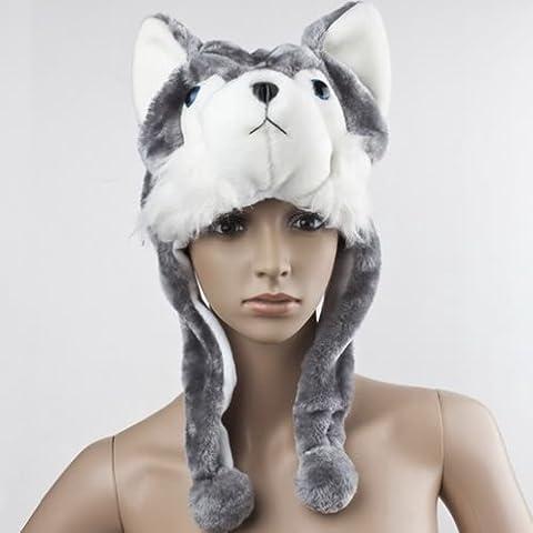 TOOGOO(R) Cartoni animali Husky lupo peluche lanuginosa del cappello sciarpa paraorecchie bambini ragazza donne