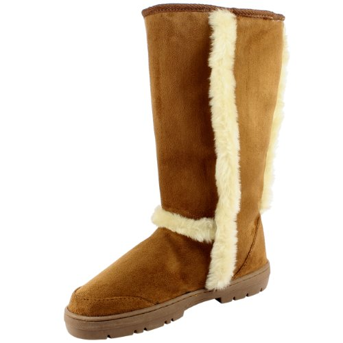 Damen Schuhe Classic Tall Fell Schnee Regen Winter Fur Boots Hellbraun