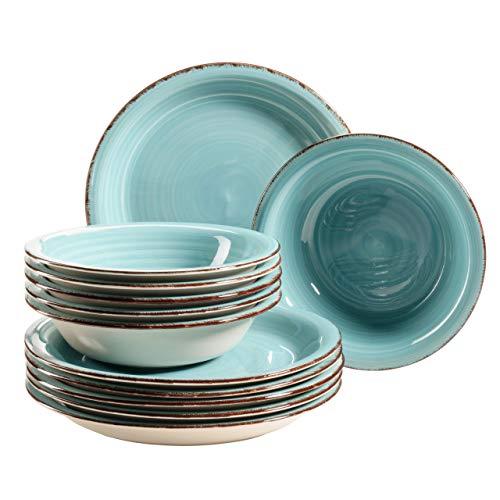 MÄSER 931497 Bel Tempo II - Juego de platos para 6 personas (pintados a mano, gres), diseño vintage, color turquesa