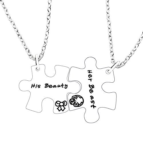 Couple Necklace for Him and Her Valentine Gifts - His Beauty Her Beast Pack of 2