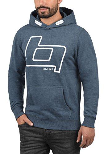 BLEND Vinto White Herren Kapuzenpullover Hoodie Sweatshirt mit Print aus hochwertiger Baumwollmischung Meliert Ensign Blue (70260)