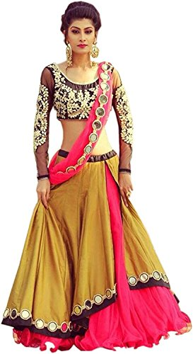 Lehenga Choli (Women's yellow mirror benglory Silk party wear lehenga choli FREE_SIZE)