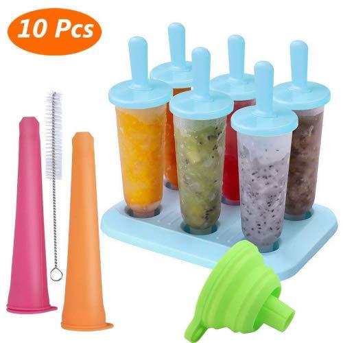 Eisformen, Joylink 10 Stück Eisformen Set BPA Frei Eisformen Popsicle Formen Set Eislutscher Formen with Cleaning Brush , Eis am Stiel and Funnel