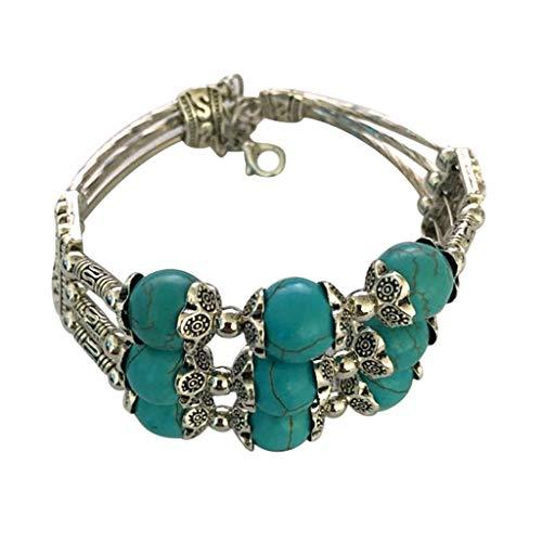 Skxinn Damen Mehrschichtige Vintage Stein Türkis Perlen Bettelarmband Lucky Gifts für Mädchen Frauen -