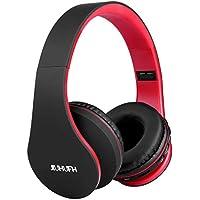 JIUHUFH Auriculares Bluetooth con Micrófono Incorporado/ Reproductor de MP3 / Radio FM / Manos Libres para Teléfonos Celulares (Rojo)