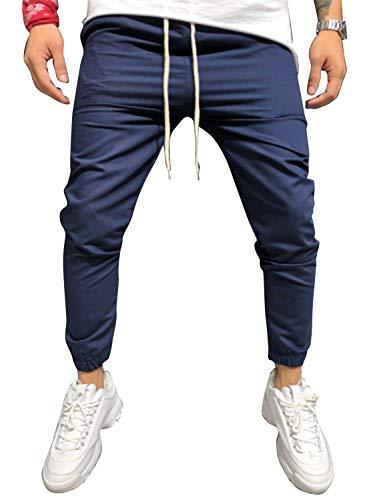 Cindeyar Herren Hose Jeanshose Stretch Jogger Sporthose Basic Chino Jeans Hose Slim Fit, Marine, M -