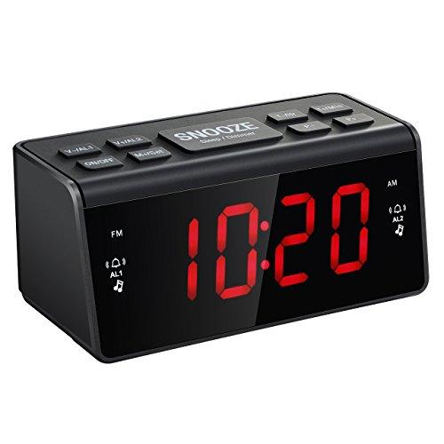 TopElek Digital FM/AM Radiowecker Uhrenradio Wecker mit Nachtlicht-Funktion, Dual-Alarm, Snooze-Funktion, 1.5-Zoll große LED-Anzeige, Sleep-Timer, Dimmer, Batterie-Backup für Stromausfall Test