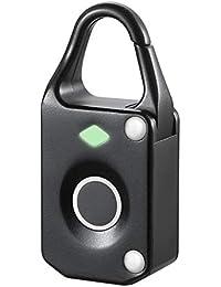 UxradG - Candado de huella dactilar, conexión Bluetooth de metal, antirrobo, impermeable, electrónico, sin llaves, apto para puerta de casa, mochila, maleta, bicicleta, gimnasio, oficina, negro