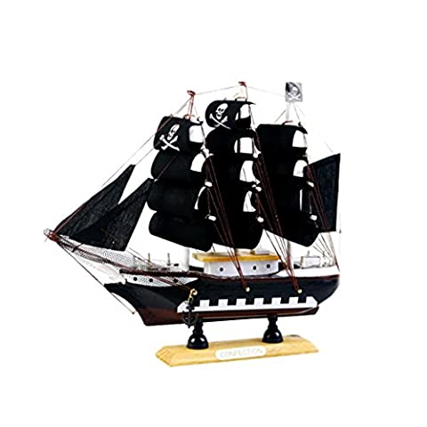 Homyl 9.5 Inches Handcrafted Home Decorative Nautical Wooden Pirate Ship Sailboat Boat Model Decor - Black, as described