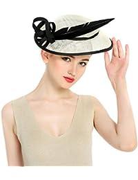 HBF Sombrero Mujer Hilo De Lino Sombrero De Mujer Para Verano Playa Boda