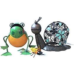homeshop3000 - Conjunto de decoración para jardín de Animales e Insectos, 3 artículos, diseño de Rana de Caracol