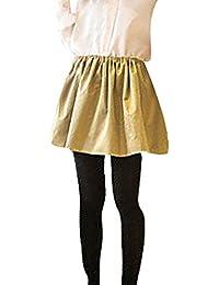 Women Elastic Waist Pleated Casual Leisure Mini Skirt Beige XS