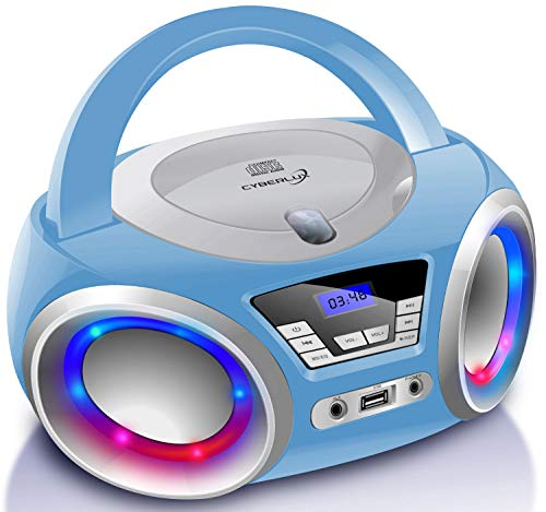 Tragbarer CD-Player | Boombox | CD/CD-R | USB | FM Radio | AUX-In | Kopfhöreranschluss | CD Player | LED-Discolichter | Kinder Radio | CD-Radio | Stereoanlage | Kompaktanlage (Azura Blau)