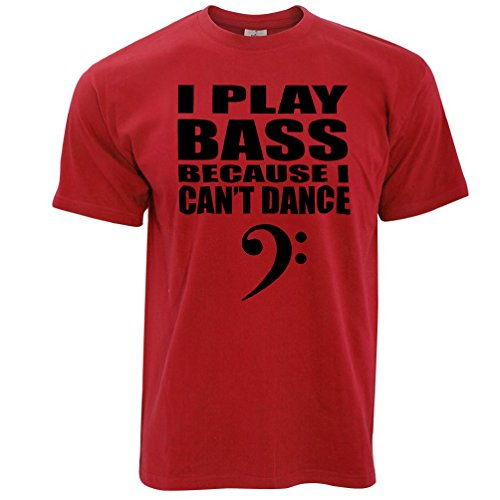 Tim And Ted I Play Bass Because I Cant Dance Guitar Clef Bassist Novelty Gig Music Band Practice Bassist Slogan Mens T-Shirt Cool Funny Gift Present