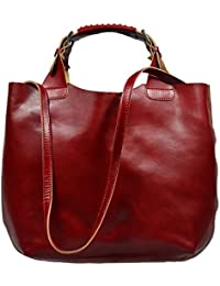 attractive rojo bolso de mano de cuero en la mano Elizabeth Rossa