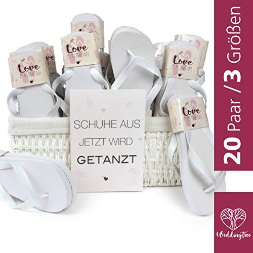 WeddingTree Chanclas para Mujer de Color Blanco - Ideales para Bodas, Invitados y Fiestas - 20 Pares...