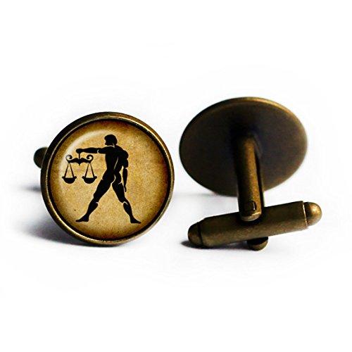 Zodiac Symbol Astrology Libra Tierkreis Astrologie Waage Antike Bronze Manschettenknöpfe