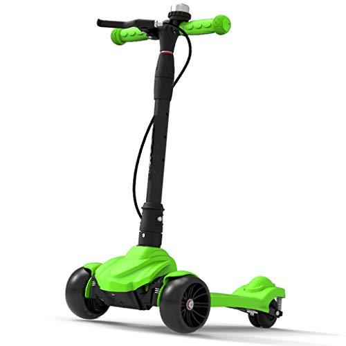 ZAQI Kids Kick Scooter mit Handbremse und Einstellbarer Höhe, lenkbar, blinkende Räder for Kinder von 3 bis 15 Jahren, Traglast 80 kg (Color : Green) (Kleine Mädchen, Die Elektro-roller)