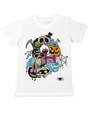 clothinx Kinder T-Shirt Halloween Doodle Weiß/Bunt Größe 140