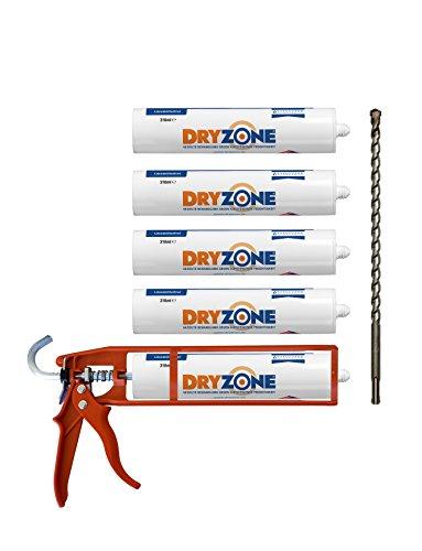 Dryzone Horizontalsperre Creme - Gegen Feuchte Wände und Aufsteigende Feuchtigkeit - WTA Zertifiziert - Dichtungspistole mit 5 Dichtungskartuschen à 310 ml. Bei Wandstärke von 240mm, Ergiebigkeit von 7,5 Meter Wandlänge behandelt.