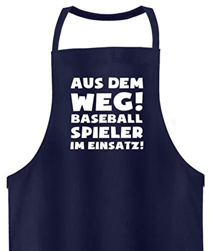 shirt-o-magic Baseball: Baseballspieler im Einsatz! - Hochwertige Grillschürze -Einheitsgröße-Dunkel-Blau