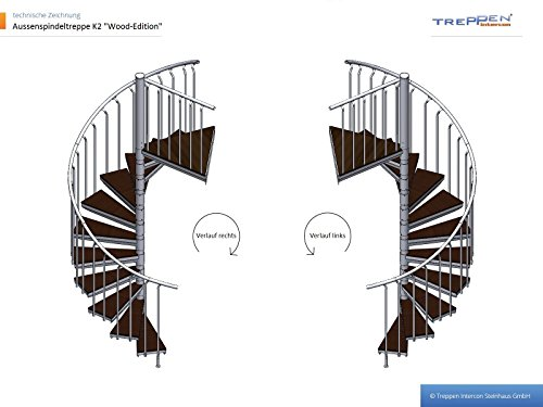 Intercon outside staircase steel staircase K2 Wood edition WPC diameter 120 / 140 / 160 / 180 / 200 cm