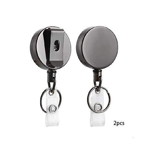 Cicony 2PCS Metal Retractable Badge Reels mit Schlüsselanhänger Gürtelclip (Badge Reel Für Männer)