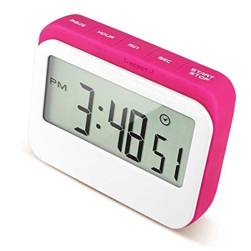 caoku Digital Küche Event Countdown Timer | farbigen großes Display Uhr in Silikon Fall | Digital, lauter Alarm Elektrische Timer mit magnetischer Rückseite und Ständer - rose