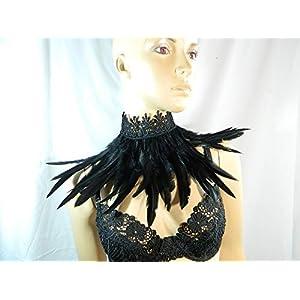 Feder Halsband Kragen schwarz Choker Kropfband Kette Rabe Vogel Federkragen