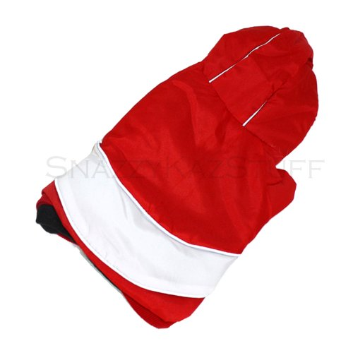 Posh Petz® Winter Warm Gepolsterte Hundemantel Jacke mit Pelz getrimmt Hoodie Fleece-Futter Klein - Rot (XL Länge 39cm) (Getrimmt Rot)