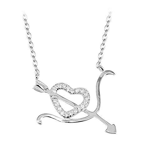 BiBeary Damen elegant 925 Sterling Silber Zirconia Herz Bogen und Pfeil Amor Geliebte Valentinstag Pendant Halskette