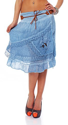 ZARMEXX knielanger Damen Sommerrock Baumwollrock Lagenlook mit Gürtel stonewashed kurzer Rock Spitze Tüll Minirock Jeansblue