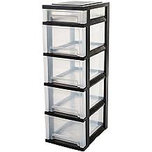 IRIS Ohyama 122.397,0 SDC-314 Torre de almacenamiento con 5 cajones de plástico Negro/Transparente 29 x 39 x 92 cm