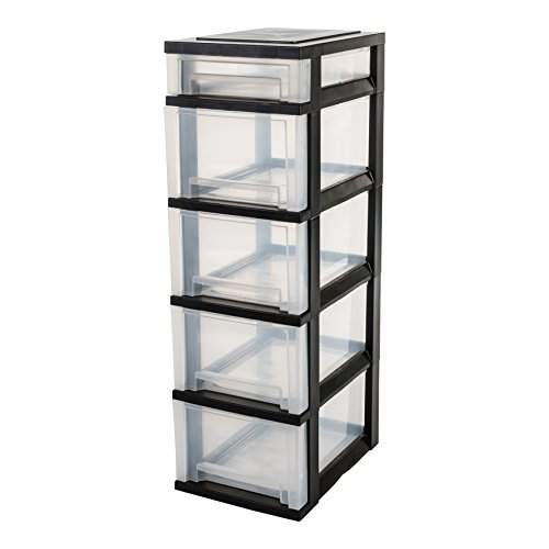 IRIS, Schubladenschrank / Schubladenbox / Rollwagen / Rollcontainer / Werkzeugschrank 'Smart Drawer Chest', SDC-314, mit Rollen, Kunststoff, schwarz / transparent - Iris Fliesen
