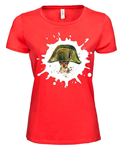 makato Damen T-Shirt Luxury Tee Toy Terrier Soldier Coral