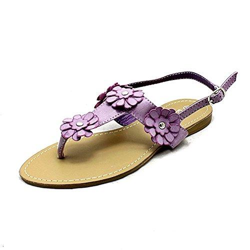 sendit4me Mesdames Plat Slingback Sandals avec Fleur Détail et Toe Post Lilac