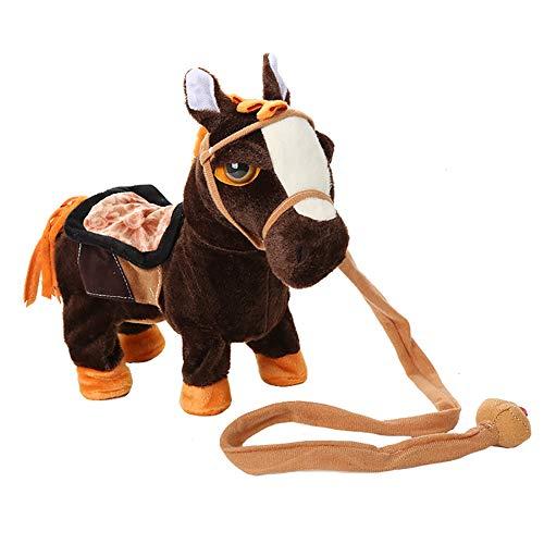 Sguan-wu Elektrischer Plüsch 10inch, der gehendes Pferdepony simuliertes intelligentes Kinderspielzeug singt Dark Brown