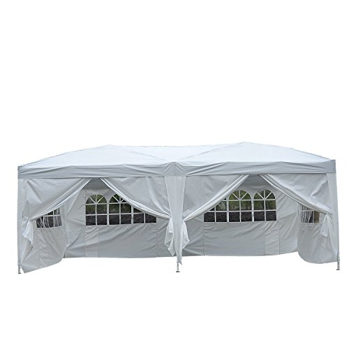 Homcom gazebo pieghevole da giardino esterno impermeabile con 6 pannelli laterali 6x 3x 2,55m bianco