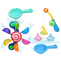 BBLIKE Baby Bath Toys, Baby Bath Time Fun Toys, Bath Windmill Waterwheel + 2Pcs Spoon + 4 Pcs Fishing Toy Set Floating Animal Toy Water Toys for Toddlers Kids Babies 1 2 3+ Year Old Boys Girls