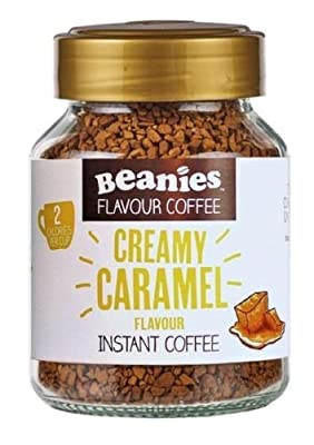 6x Beanies Creamy Caramel Flavoured Instant Coffee Jars: 50g per jar by Beanies Flavour Co.