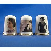 Porcelana China Coleccionable de dedal conjunto de tres Coco Chanel