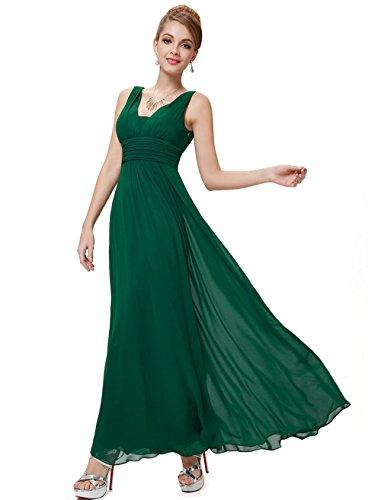 Dabag - Chic Femmes Pure couleu Sexy sans manches V-cou robe fetes swing Grande en mousseline de Taille empire robe plissée (S, Bleu) Vert