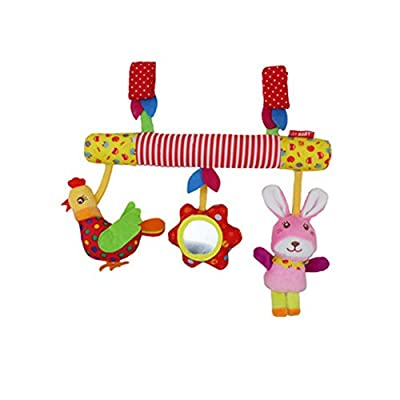 Hanging Toys for Car Seat, Kid Baby Spiral Bed Stroller Toy Chicken Rabbit Educational Plush Toy with Safety Mirror